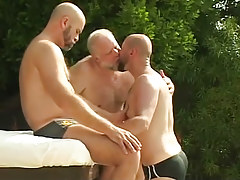 Three bear mellow gay guys take up with the tongue by pool