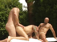 Lusty full-grown bears swallow and fuck in group sex outdoor