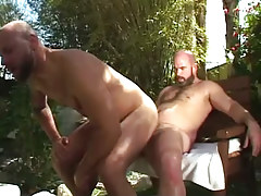 Hairy gay guy jumps on hard penis outdoor