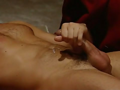 Hairy homo cums after hard anal