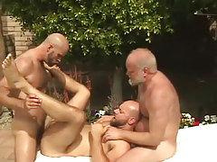 Old and ready man-lovers share curly dilf by pool