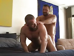 Lusty bear homosexual guys tough fuck in doggy style