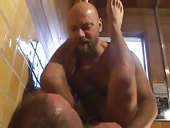 Mature bear gay guys fuck in shower-room