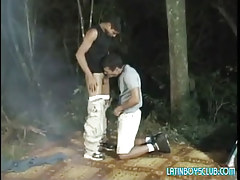 Latin twink homosexuals blow in shady forest