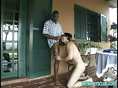 Black man-lover sucked by fresh Chicano outdoor