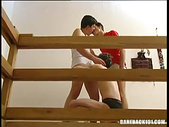 Horny fruit man-lovers lick and engulf dongs in threesome