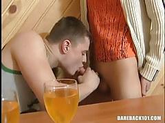 Drunk young man-lover sucks palatable knob