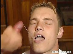 Hot man-lover boy swallows sweaty sperm