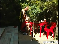 Three teenage faggots suck sticks outdoor