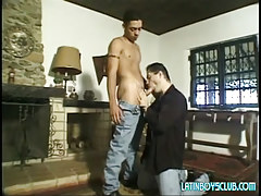 Lusty dad sucks innocent latin man