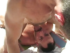 Hairy gay sucks intense knob of bear stud outdoor