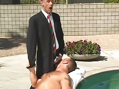 Horny homo boss spoils hairy man by pool