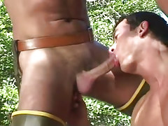 Horny gay man sucks phallus in nature