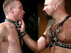 Bear daddy in leather spoils poor male