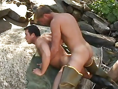 Gay fisherman heavy sleeps with hunk behind in nature
