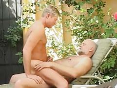 Horny chap crazy jumps on old dick of bear faggot
