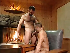 Hot bear gentleman sucked by fireplace