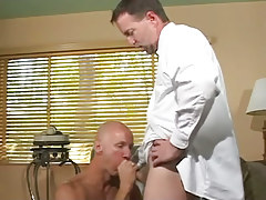 Bald homosexual greedily sucks appetizing cock