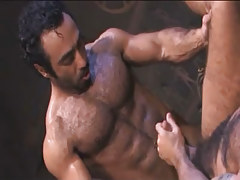 Bear Arabian gay makes love hairy dilf in archeological dig