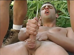 Three muscle faggots sex cream by distorts in forest