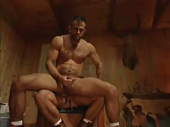 Mature bushy fruit cums with schlong in his ass