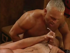 Hairy muscle dilf cums in group sex