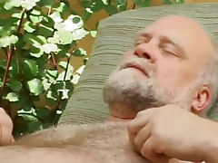 Hairy old gay enjoys by oral play outdoor