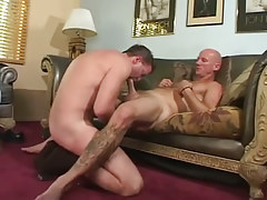 Hairy gay man sucked by father