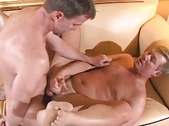 Mature twink fucks hairy gentleman on couch