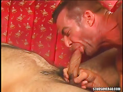 Horny dilf sucks massive cock