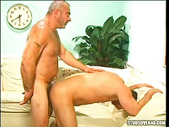 Silver bear dad bangs dude in doggy style