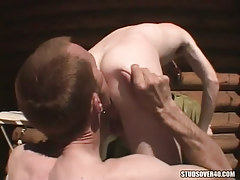 Hungry homo licking dick-holders ass on tearrace