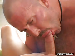 Hairy calm gay guy sucks fresh dudes jock
