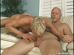 Blond 19 gay engulfing sexually excited daddy