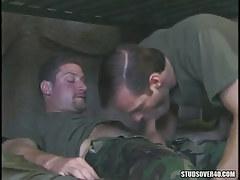 Military dude sucks his shaggy collaborator