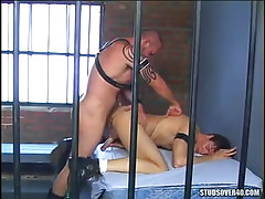 Hairy prisoner copulates hunk in doggy style
