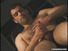 Bear man-lover masturbates