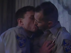 Horny policemen kiss all the time other