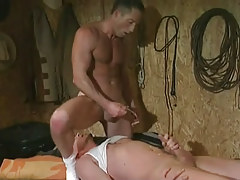 Cute homosexual cums on lover