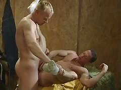 Blond gay hard makes love boyfriend