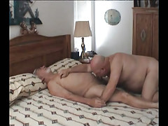 Old gay taking in cock in sofa