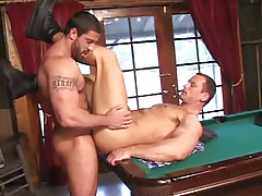 Hairy homosexual drills appealing boyfriend on billiard table