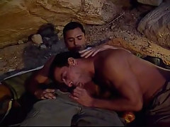 Muscle gay sucks weenie in cave