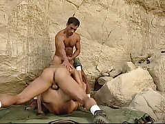 Hairy gays engulf and fuck in mountains