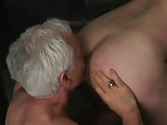 Silver man-lover man licks appetizing booty