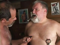 Lusty old gays caress nipps with cigar