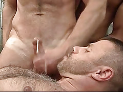 Dirty gay gets a portion of cock cream on his bushy chest