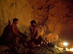 Three gay hunks swallow and fuck in cave