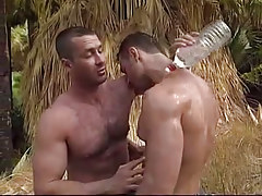 Muscle faggot dilfs touch always other in jungle