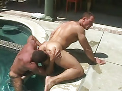 Mature muscle faggot licks elastic males a-hole in pool
